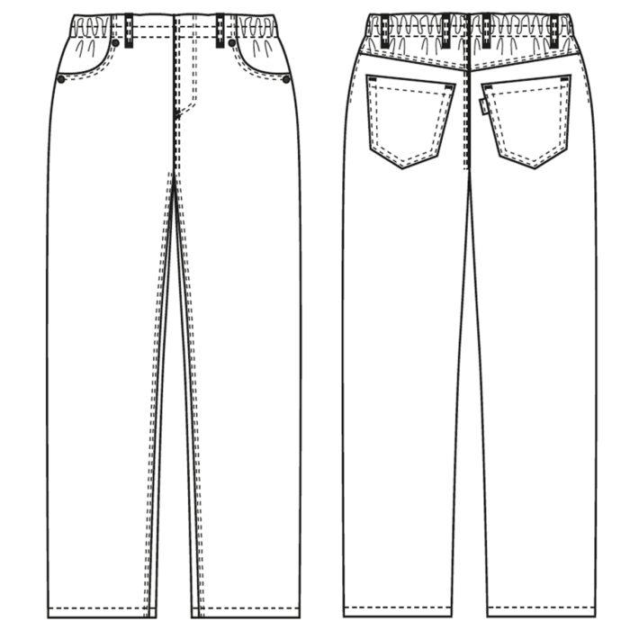 Pull-on Artikelnummer: K-105054100-N65% Polyester - 35% Lyocell / Farbe weiß65% Polyester - 35% Baumwolle / Farbe schwarz215 g/m²✓ Breiter Gummizug✓ Vorderer Schlitz als Deko✓ Zwei Schrägtaschen✓ Zwei Gesäßtaschen✓ Gürtelschlaufen