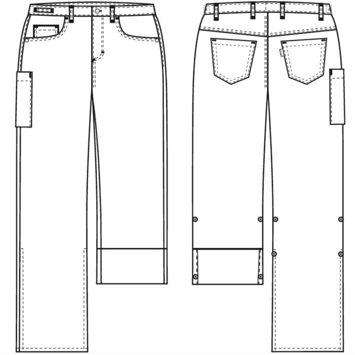 190 g/m² Artikelnummer: K-105115200-N63% Polyester - 34% Baumwolle - 3% EOL Stretch190 g/m²✓ Bund mit Knopf und Reißverschluss✓ Verstellbarer Gummizug am hinteren Bund✓ Gürtelschlaufe✓ Geräumige Hüft- und Oberschenkelweite✓ Tiefe Vordertaschen✓ Zwei Jeans-Gesäßtaschen✓ Oberschenkeltasche mit Druckknopfverschluss✓ Verstellbare Schrittlänge mit Druckknopffixierung✓ Strapazierfähig