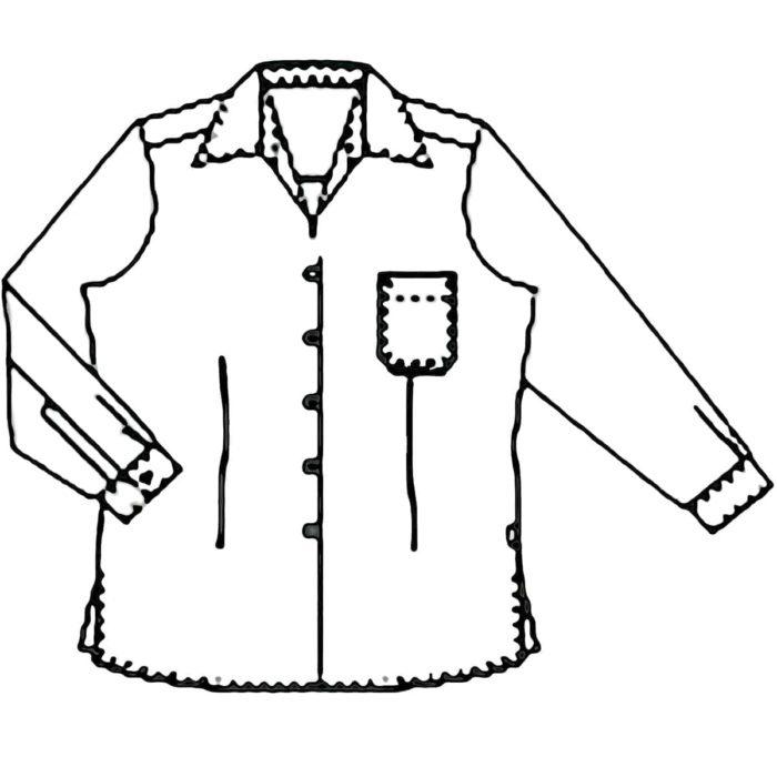 LangarmArtikelnummer: K-116058100-N50% Baumwolle - 50% Polyester120 g/m²✓ Klassische Bluse✓ Langarm✓ Brusttasche links