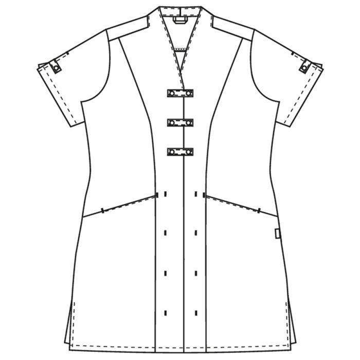 gerader Schnitt✓ Schlitz am Ärmel✓ Nackenschlaufe✓ Baumwolle an der InnenseiteVorne Verschließbar durch drei sichtbare Druckknöpfe und teils verdeckte Druckknöpfe