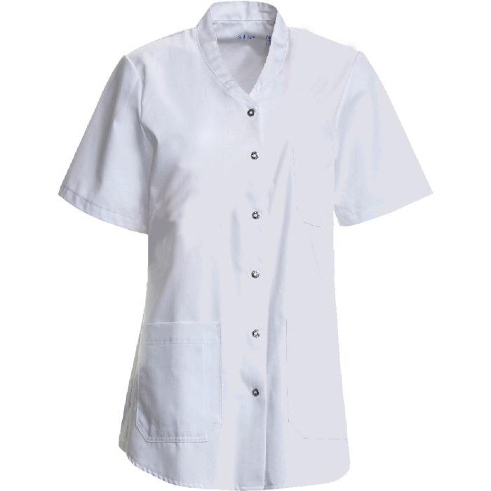 Nybo Kasack Damenkasack Artikelnummer: K-136064920-N 50% Polyester - 50% Baumwolle 215 g/m² zwei große Hüfttaschen eine Brusttasche Seitenschlitze Das Gewebe ist ein weiches Soft Twill mit innenliegender Baumwolle.