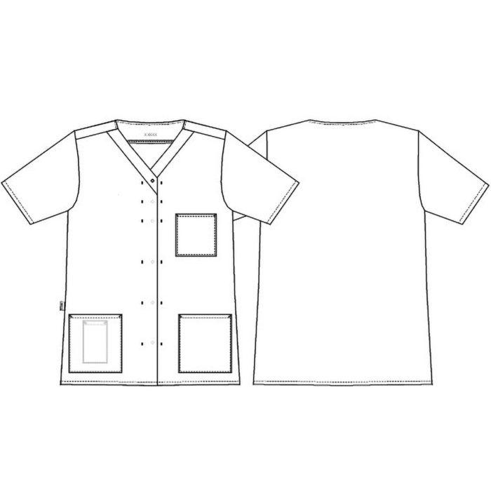 V-Ausschnitt Artikelnummer: K-15139-934-0-0-K 50% Lyocell - 50% Polyester 215 g/m² Femininer A-Schnitt V-Ausschnitt Eine Brusttasche Zwei Hüfttaschen Separate Innentasche in der Hüfttasche Verdeckte Druckknopfleiste Ein sichtbarer Knopf