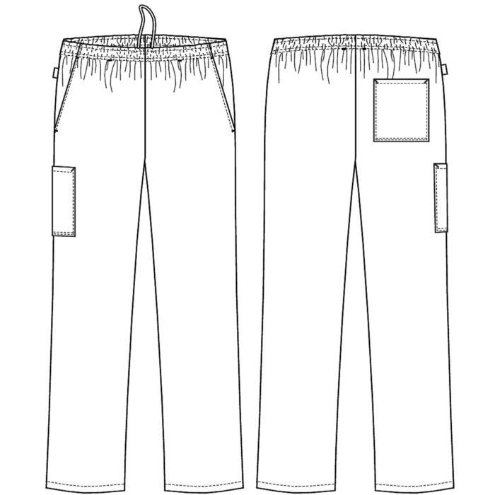 ungesäumt Gummizug und Kordel in der Taille Zwei Schrägtaschen Eine Gesäßtasche Eine Schenkeltasche Aufhängerschlaufe und Patchlappen Optionale Beinlänge: 16949-924 - Schrittlänge 80 cm 16951-924 - Schrittlänge 75 cm
