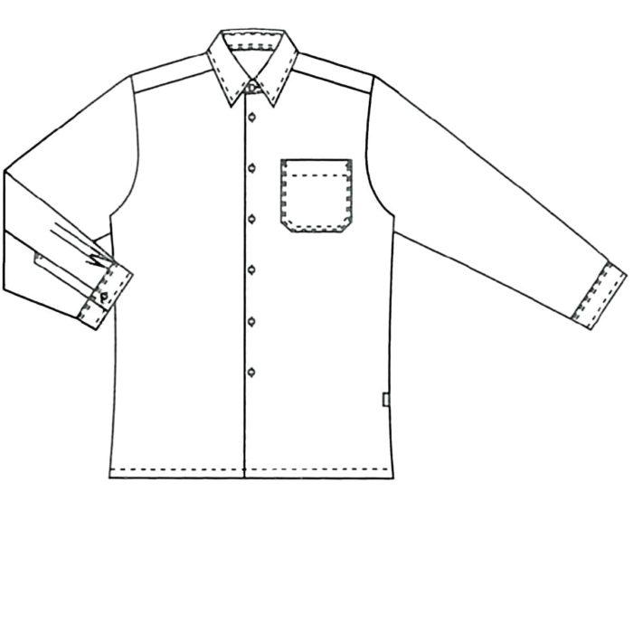 LangarmArtikelnummer: K-216006100-N50% Baumwolle - 50% Polyester120 g/m²✓ Klassisches Herrenhemd✓ Langarm✓ Brusttasche links