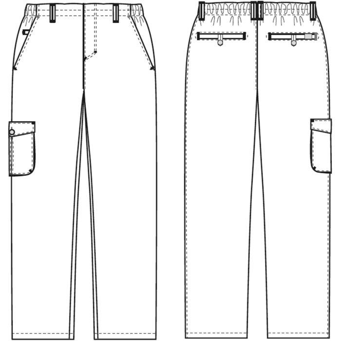 Pull- on +10 Artikelnummer: K-505021202-N65% Polyester - 35% Baumwolle210 g/m²✓ Extra Schrittlänge✓ Rundumgummi im Bund✓ Oberschenkeltasche mit Verschluß✓ Strapazierfähig✓ Gürtelschlaufen✓ Zwei SchrägtaschenOptionale Beinlängen:505021200 - Schrittlänge normal