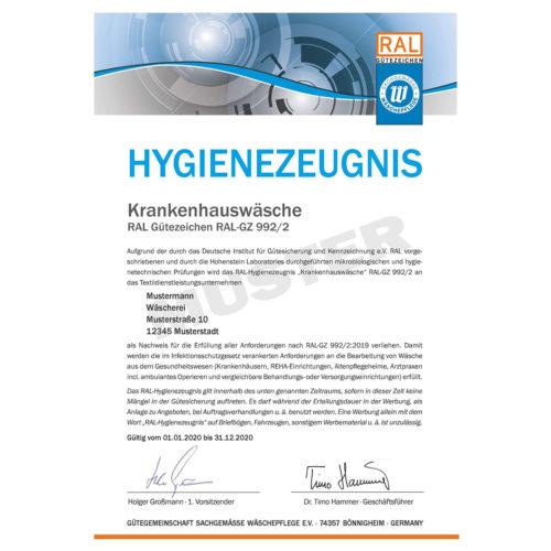Hygienezeugnis RAL-GZ 992/2 Muster