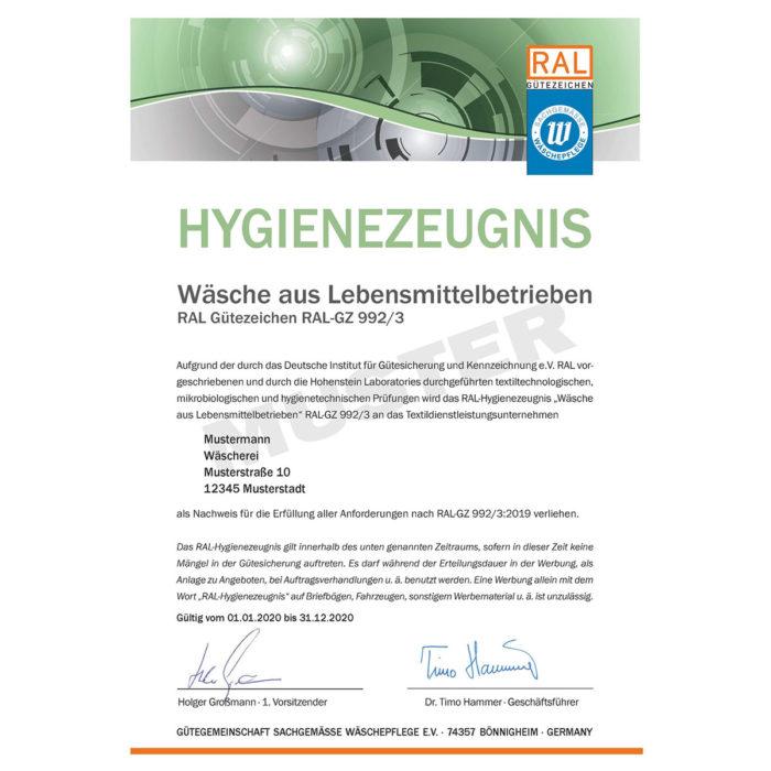 hygienezeugnis ral-gz 992/3 muster