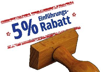 5% einführungsrabatt-stempel